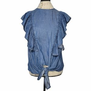 Frame chambray tie front ruffled flounce blouse